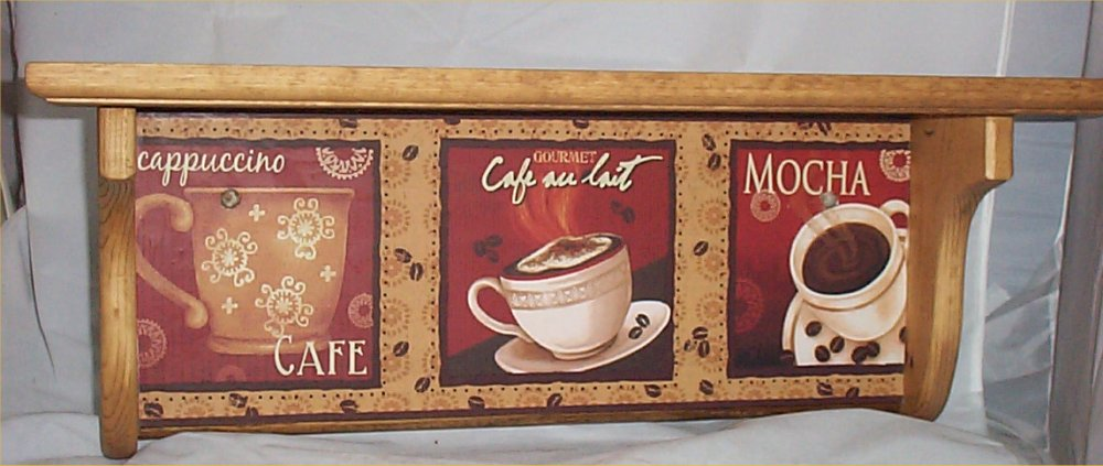Wood Mocha Wall Shelf Coffee Cafe Home Decor Espresso