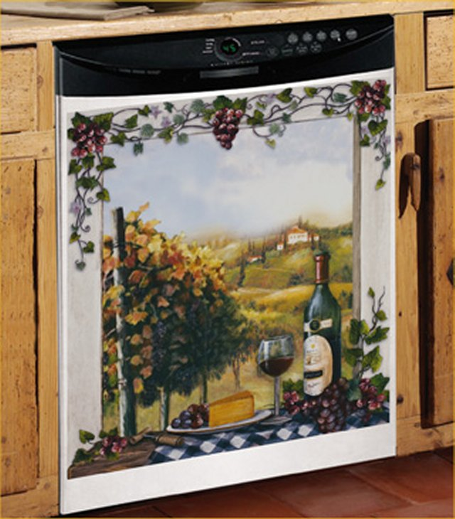 Vineyard Dish washer Magnet Cover Tuscan Grape Wine Kitchen Door Decor ...