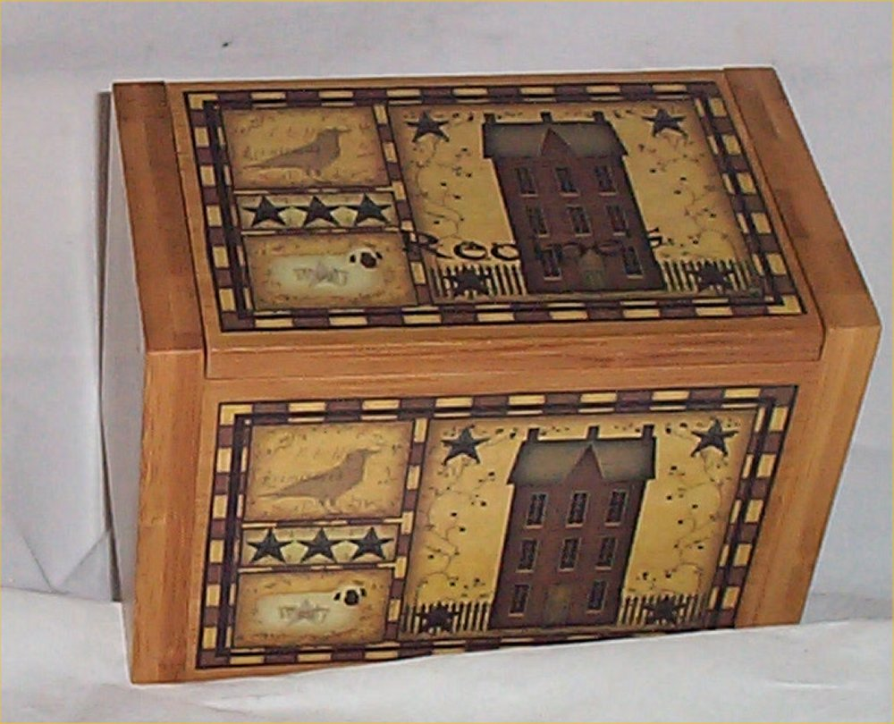 Wood Recipe Box Bamboo Primitive Kitchen Decor Folk Art