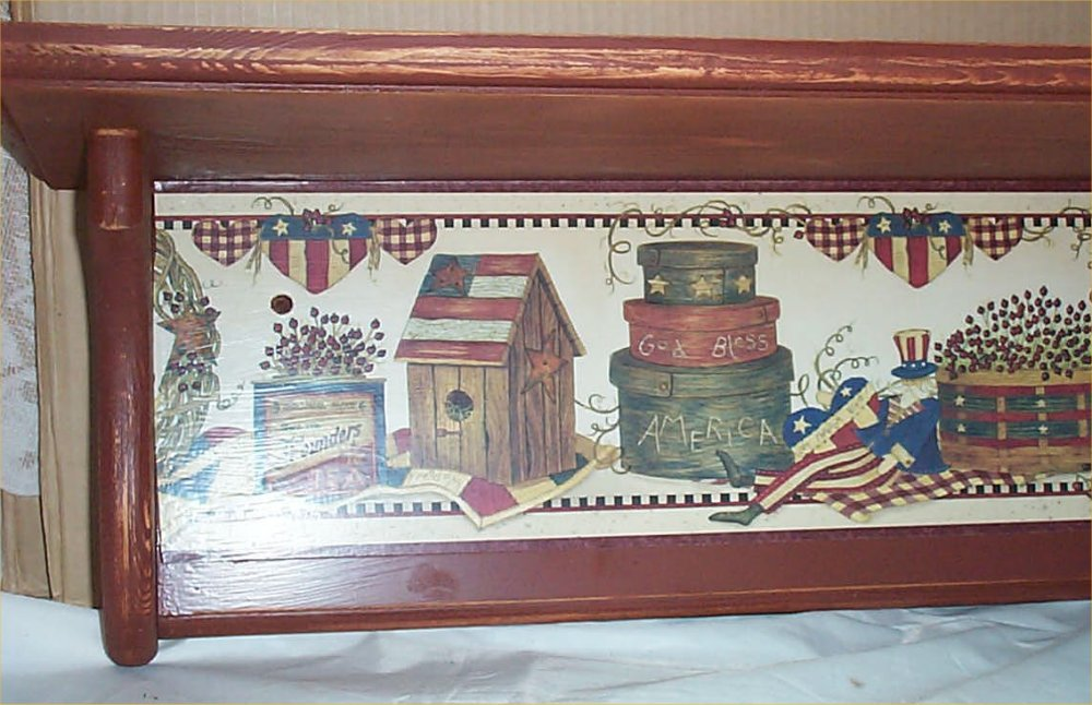 Americana Wood Wall Shelf Folk Art Decor Home Kitchen
