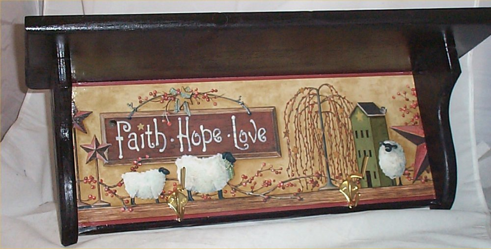 Wall Shelf Coat Hook Primitive Black Plate Rack Home Decor