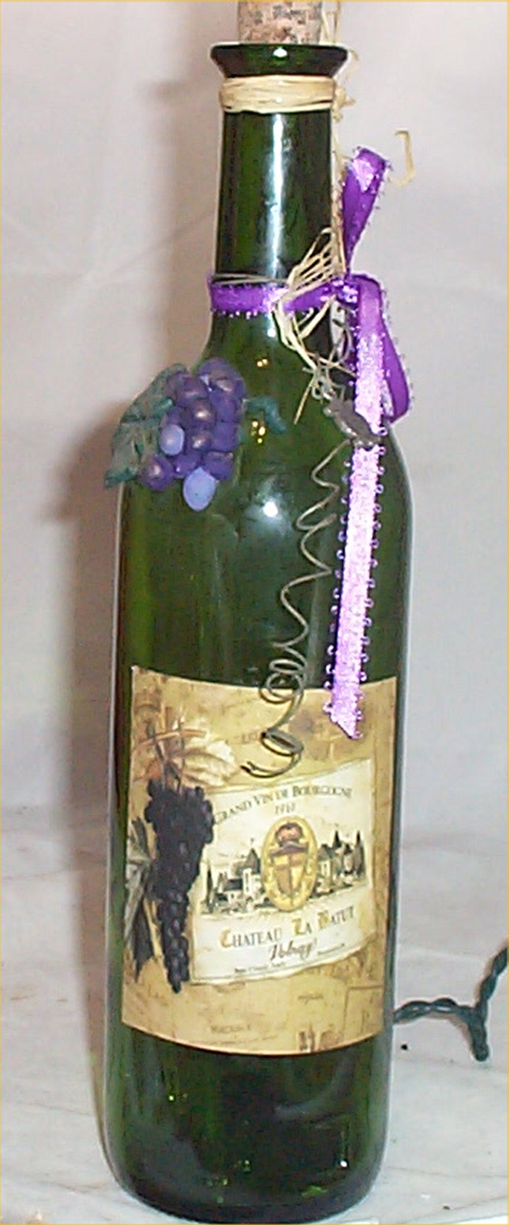Wine bottle light grape night lite green glass home decor for Wine home decorations