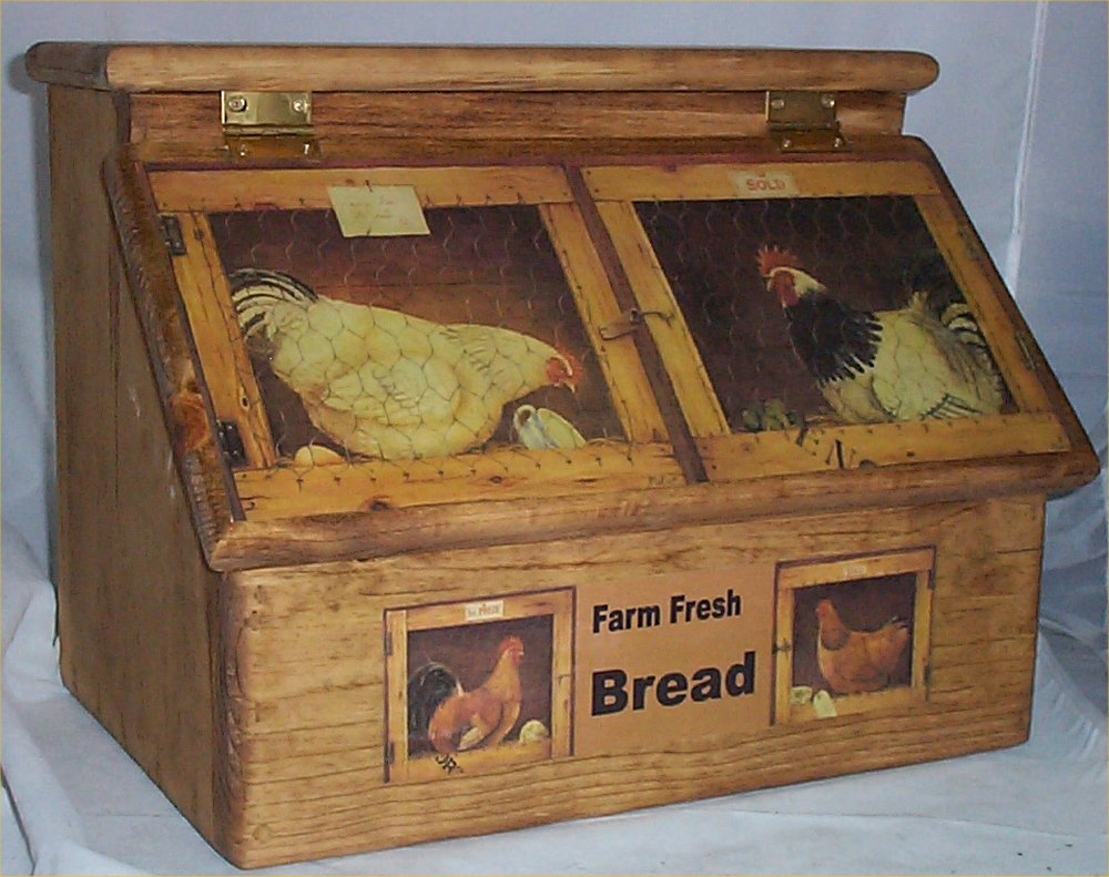 Bread box solid hard wood rooster farm country kitchen