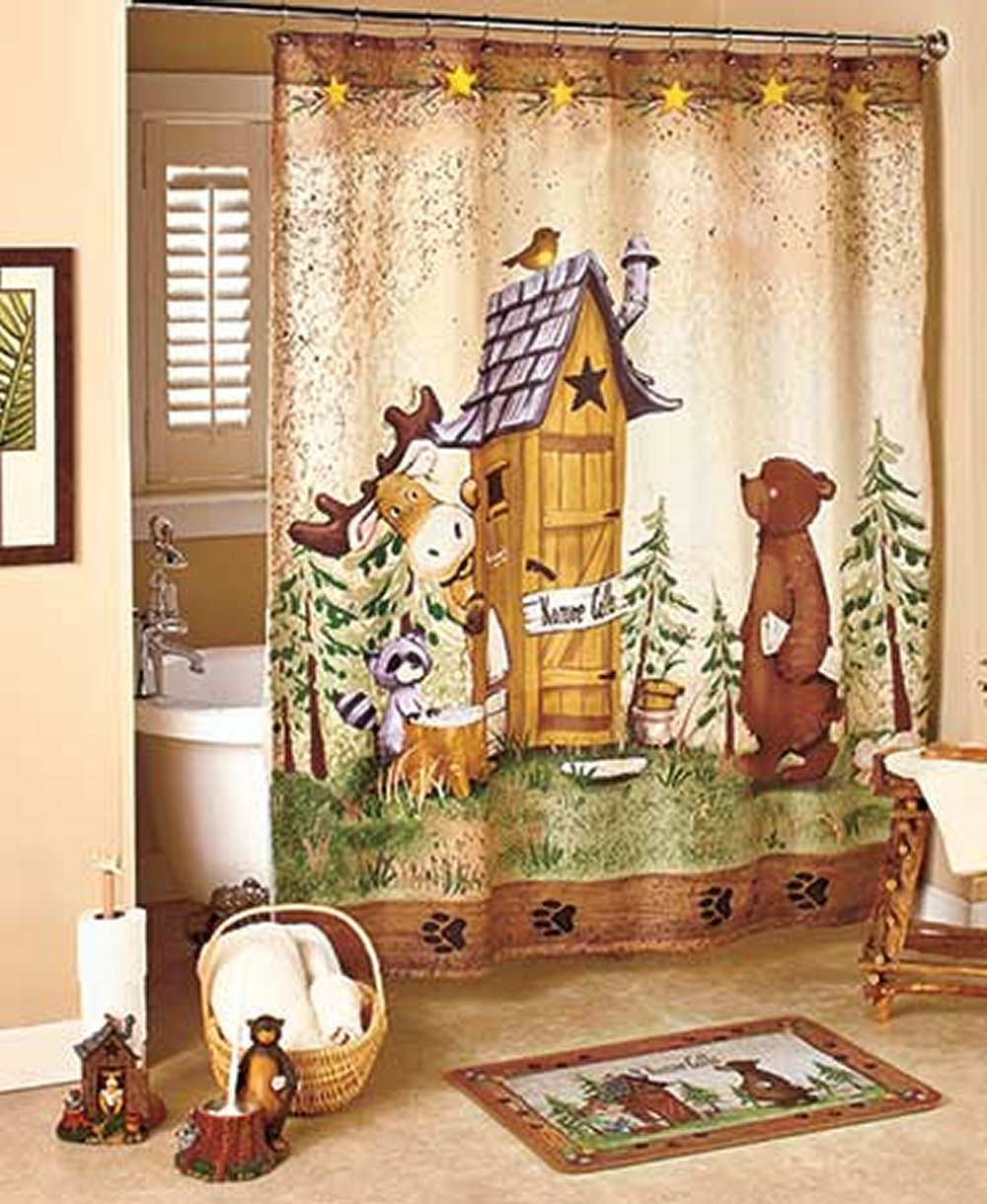 Bear shower curtain outhouse camping bear lodge cabin for Bathroom decor nature