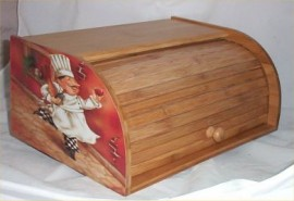 Fat Chef Bread Box Bamboo Wood Bistro Kitchen Bin Brick Chefs New