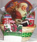 christmas gift basket snowman hot cocoa mug holiday tin peppermints santa tray