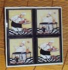 Fat Chef Trivet Ceramic Tile Bistro Kitchen Chefs /blk
