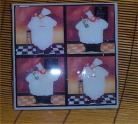 Fat Chef Trivet Ceramic Tile Bistro Kitchen Chefs /org