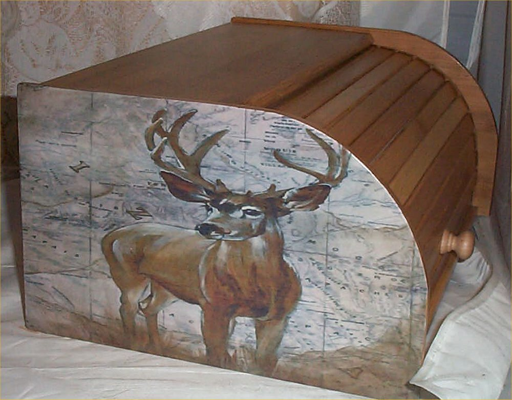 Deer Moose Bread Box Bamboo Wood Cabin Lodge Kitchen