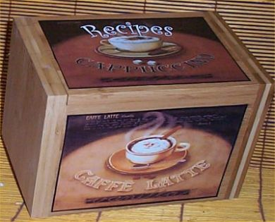 Wood Coffee Recipe Box Bamboo Cafe Latte Kitchen Decor