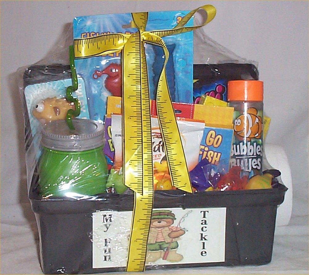 Tackle box kids gift basket fun fishing gift lure kids cup for Fishing gift basket