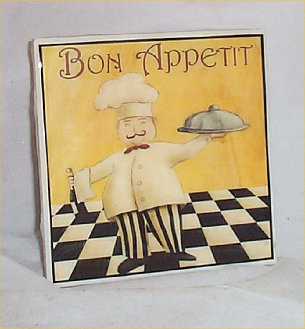 Fat Chef Trivet Ceramic Tile Bono Appetit Bistro Waiter Kitchen Chefs House And Craft Com By American Original Design
